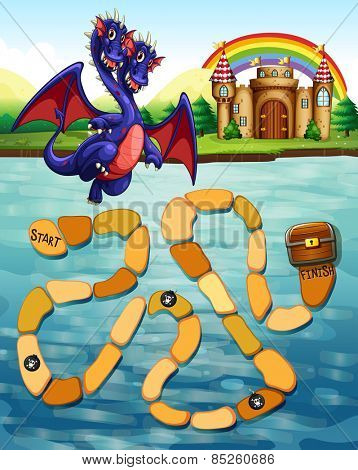 Maze game template with dragon and castle