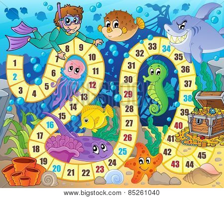 Board game image with underwater theme 2 - eps10 vector illustration.