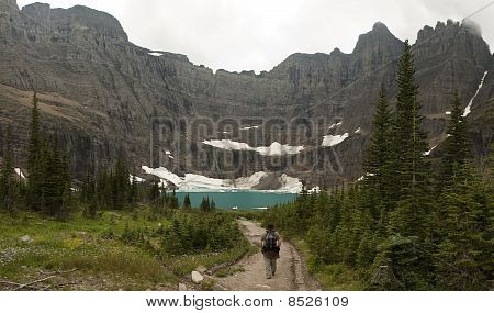 Hiker Approaching Iceberg Lake