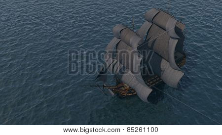 ships far in the ocean aerial view