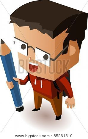 Kid going to school. Vector Illustration