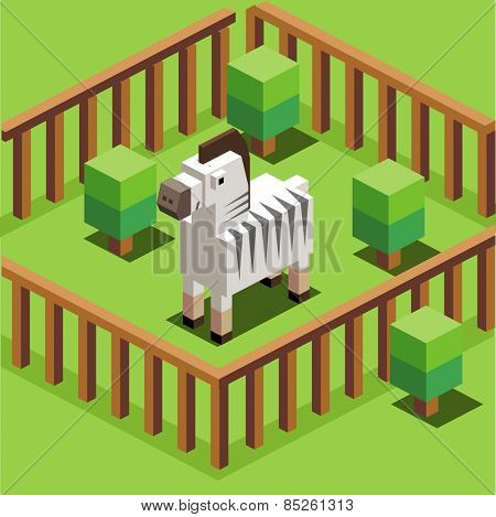 zebra in a zoo. vector illustration