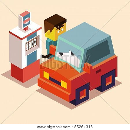 refuel the car. vector illustration