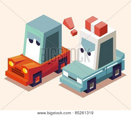 pulled over by the police. vector illustration