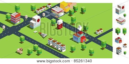 green big city. vector illustration
