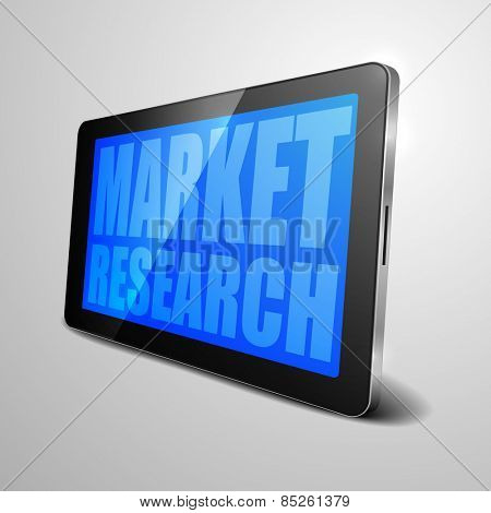 detailed illustration of a tablet computer device with Market Research text, eps10 vector