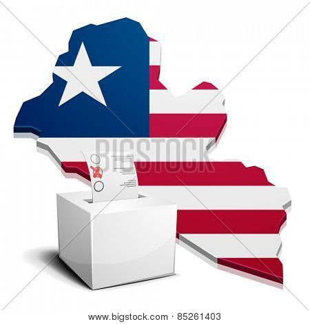 detailed illustration of a ballotbox in front of a map of Liberia, eps10 vector
