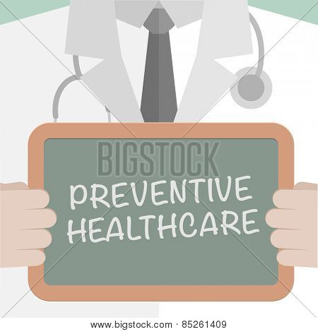 minimalistic illustration of a doctor holding a blackboard with Preventive Healthcare text, eps10 vector