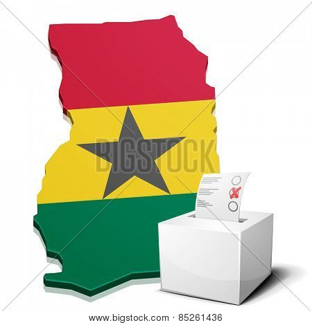 detailed illustration of a ballotbox in front of a map of Ghana, eps10 vector