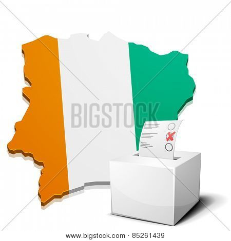 detailed illustration of a ballotbox in front of a map of Ivory Coast, eps10 vector