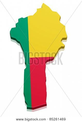 detailed illustration of a map of Benin with flag, eps10 vector