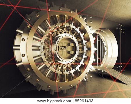 classic vault door and laser allarm