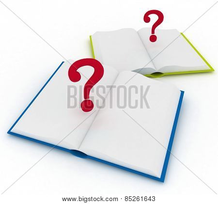 3d render illustration open books and a question marks