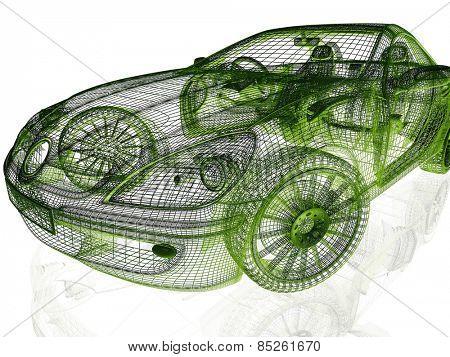Framework of Model Car on White Background