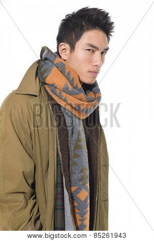 young man in coat. He is now a professional model