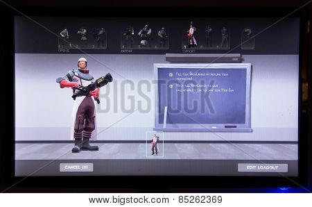 Depew, OK, USA - March 14, 2015: Red Medic on class selection screen of Team Fortress 2, a team-based first-person shooter multiplayer video game by Valve Corporation, released on October 10, 2007.