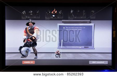 Depew, OK, USA - March 14, 2015: Red Heavy on class selection screen of Team Fortress 2, a team-based first-person shooter multiplayer video game by Valve Corporation, released on October 10, 2007.