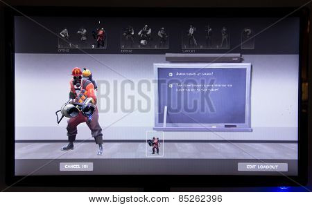 Depew, OK, USA - March 14, 2015: Red Pyro on class selection screen of Team Fortress 2, a team-based first-person shooter multiplayer video game by Valve Corporation, released on October 10, 2007.