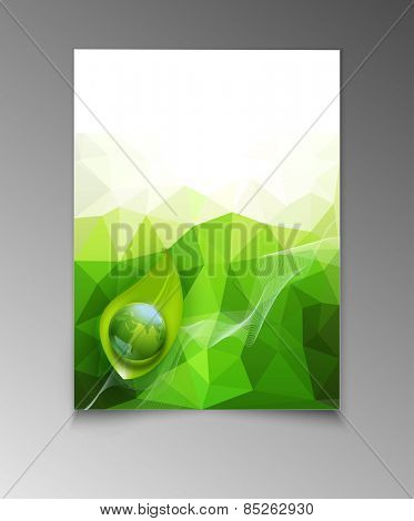 abstract template brochure for business with green triangles , leaves and  with a globe