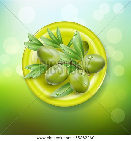 background with green olives on a green plate