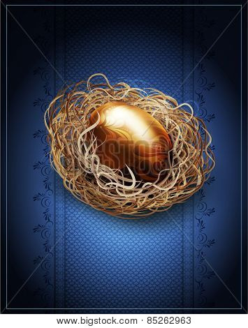 easter, vintage background with a golden egg in the nest