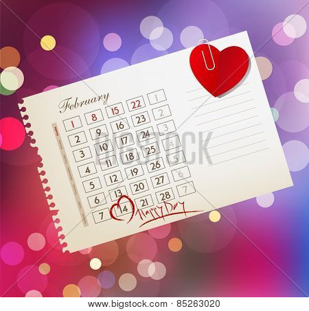 background for Valentine's day, with the calendar sheet and attached heart