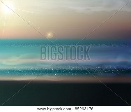 sea landscape with the setting sun