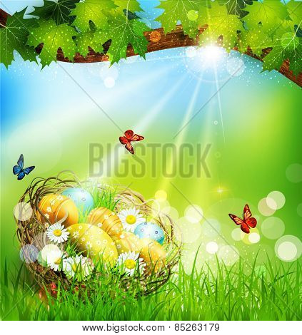 background with Easter nest and eggs on the meadow under a tree