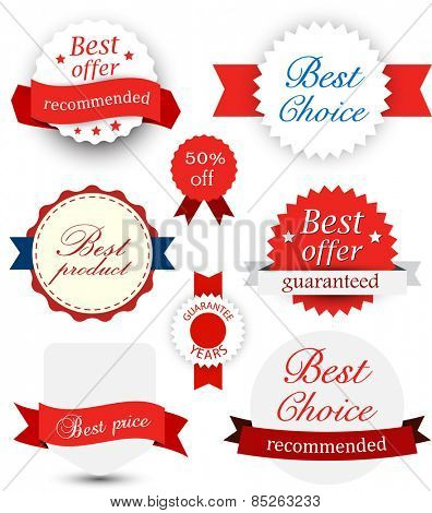 Set of red and blue award badges. Vector illustration.