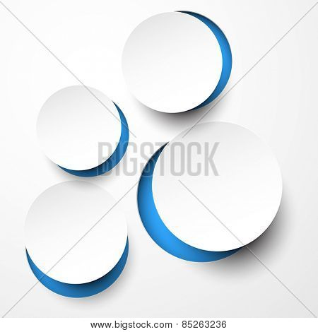 Vector illustration of white paper notched out round bubbles. Eps10.