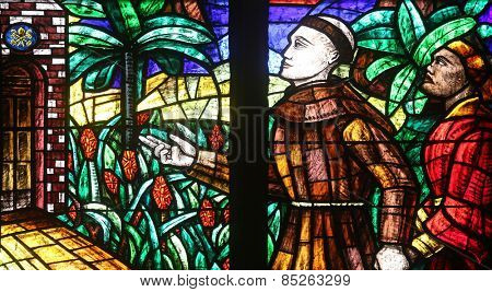 VIENNA, AUSTRIA - OCTOBER 11: Africa window, Stained glass in Votiv Kirche (The Votive Church). It is a neo-Gothic church in Vienna, Austria on October 11, 2014
