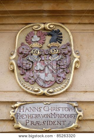 GRAZ, AUSTRIA - JANUARY 10, 2015: Facade coat of arms on the portal of Arsenal (Zeughaus) historic center listed as World Heritage by UNESCO in Graz, Styria, Austria on January 10, 2015.