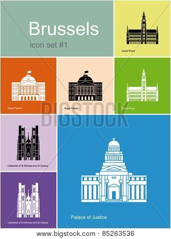 Landmarks of Brussels. Set of color icons in Metro style. Raster  illustration.