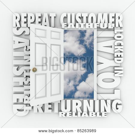 Repeat Customer words over an open door with words such as satisfied, loyal, trusting, returning, faithful and reliable