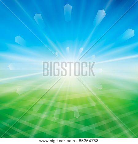 Summer or spring background with glaring sun.