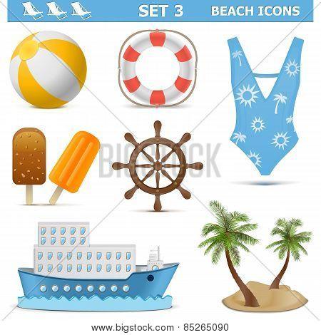 Vector Beach Icons Set 3