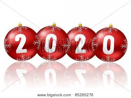 2020 new year illustration witch christmas balls