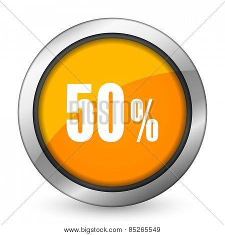 50 percent orange icon sale sign
