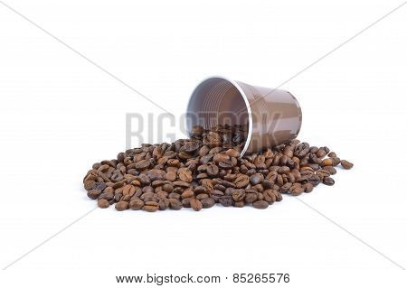Coffee Beans Stripes Isolated In White Background