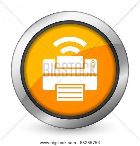 printer orange icon wireless print sign