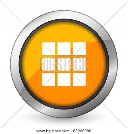 thumbnails grid orange icon gallery sign