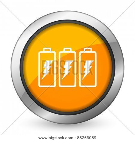battery orange icon power sign