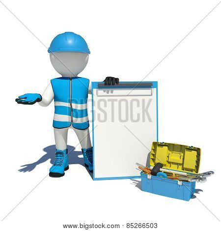 White man in special clothes, shoes and helmet holding clipboard. Background of toolbox