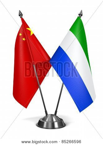 China and Sierra Leone - Miniature Flags.