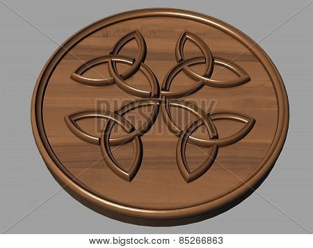 Carved Out Of Wood Pattern Celtic Ornament