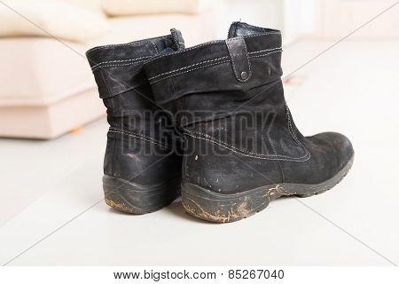 Worn dirty black woman's shoes