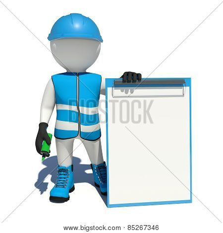 White man in special clothes, shoes and helmet holding clipboard, soft-tip pen green