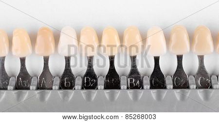 Plastic dental implant for choose color tone of teeth isolated on white
