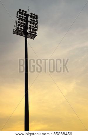 pole sport light  and a sunset sky background