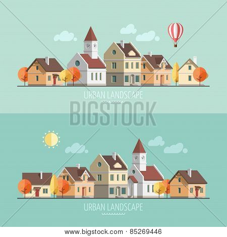 Flat design urban landscape. Autumn.